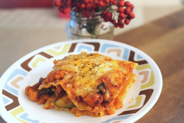 Vegetable Lasagna slice on a plate