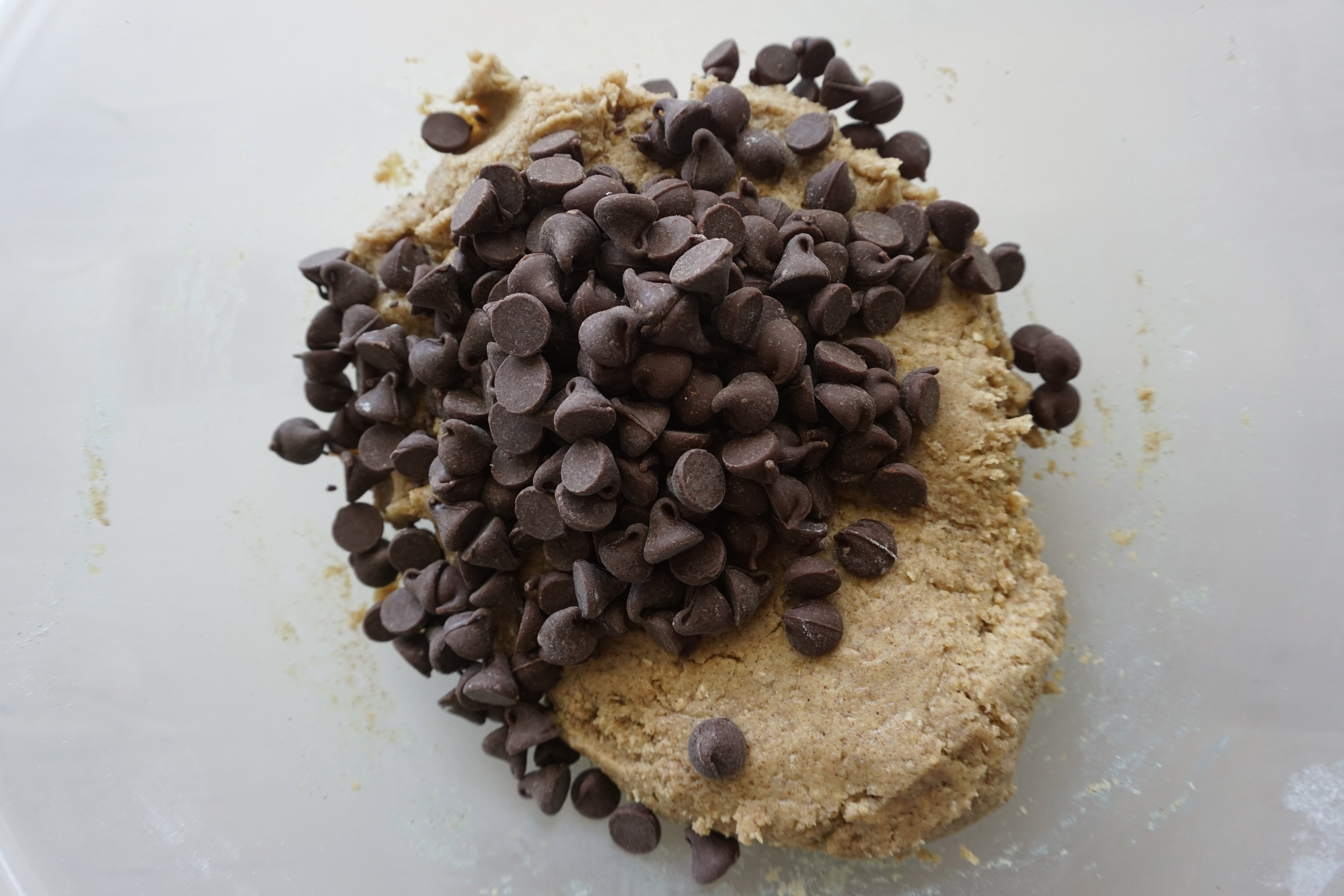 chocolate chips added to cookie dough