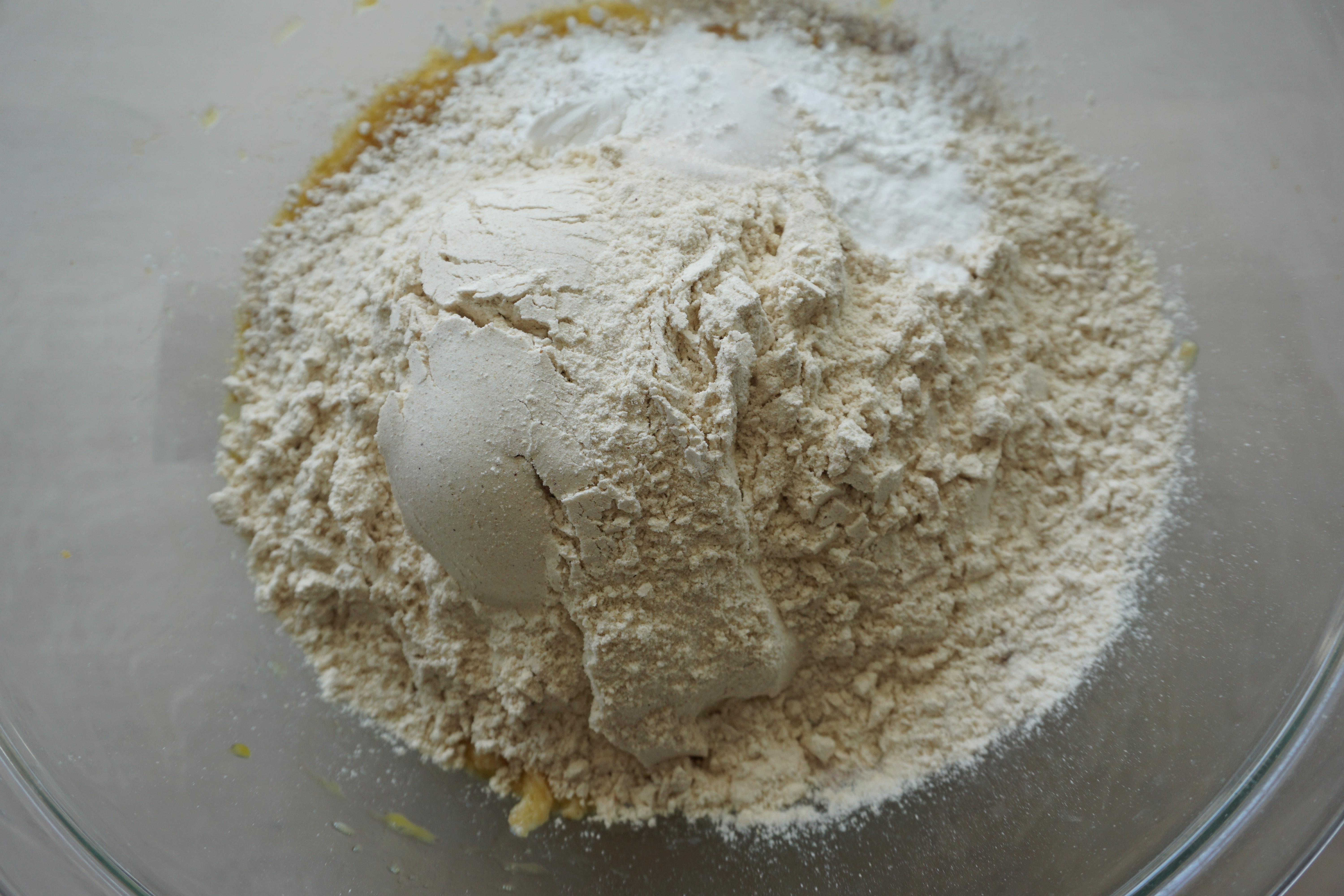 dry ingredients added to wet