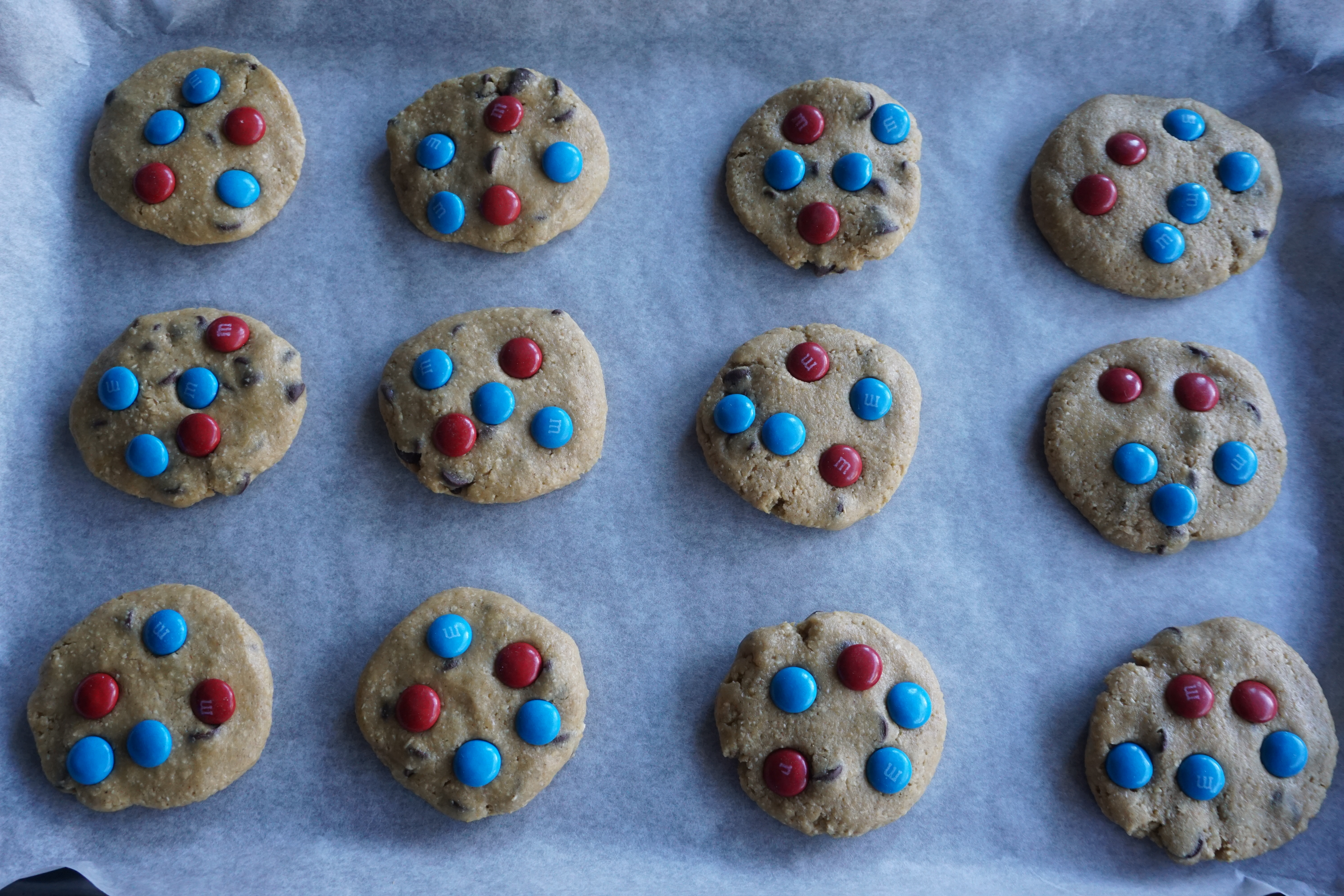 flattened cookies with M&Ms on top