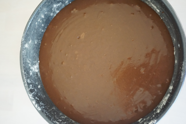 cake batter in cake tin
